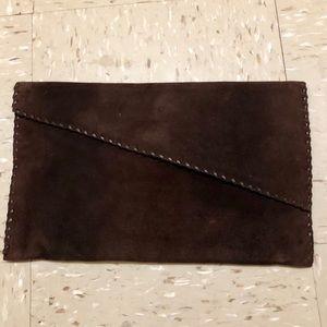 Handbags - Suede clutch handbag brown.